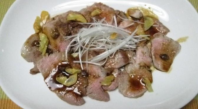 豚肉のソテー、バルサミコソース
