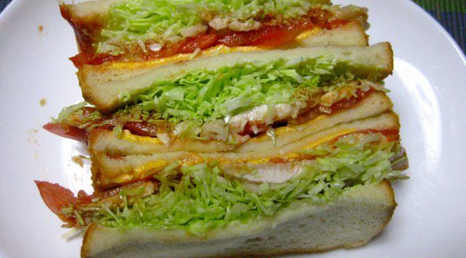炒め鶏胸肉のサンドイッチ